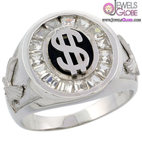Sterling-Silver-Mens-Dollar-Sign-Oval-Ring 19 Awesome Mens Sterling Silver Rings