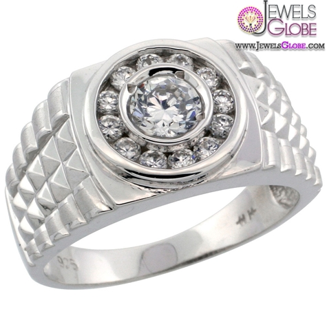 Sterling-Silver-Mens-Watch-Band-Style-Ring-w-Brilliant-Cut-CZ-Stones 19 Awesome Mens Sterling Silver Rings