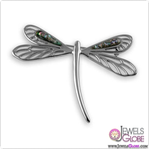 Sterling-Silver-Oyster-Shell-Dragon-Fly-Brooch Buying Sterling Silver Brooches and Pins Online