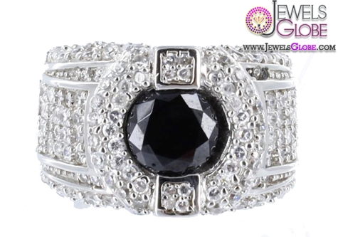 Sterling-Silver-Ring-White-Lab-Diamond-Iced-Black-Center-Stone 19 Awesome Mens Sterling Silver Rings
