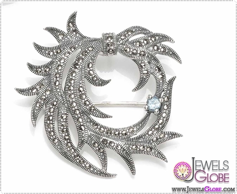 Sterling-silver-Marcasite-Brooch-with-semi-precious-stone Buying Sterling Silver Brooches and Pins Online