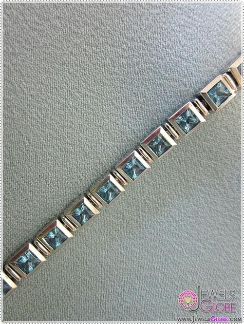 Stunning-14K-White-Gold-and-Blue-Topaz-Tennis-Bracelet Blue Topaz Tennis Bracelet