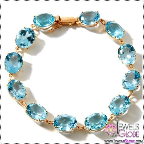 Technibond-Blue-Topaz-Gemstone-Tennis-Bracelet-14K-Yellow-Gold-Clad-Silver Blue Topaz Tennis Bracelet