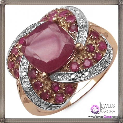 This-ring-features-a-cushion-cut-genuine-glass-filled-ruby-center-stone 32+ Most Elegant Genuine Ruby Rings For Women