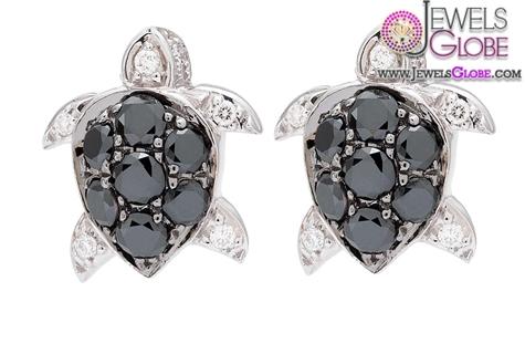 Tiny-Black-Diamond-Turtle-Studs-White-Gold Latest Fashion Black Diamond Earrings For Women
