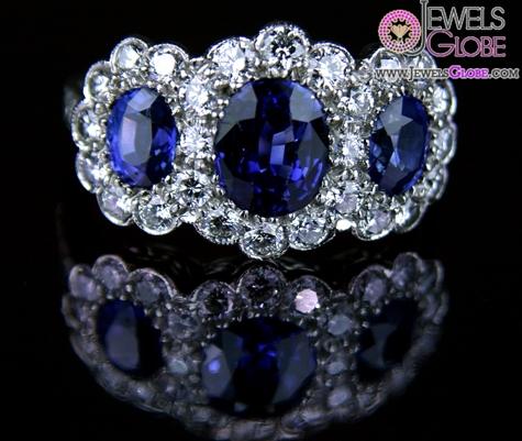 Triple-Ceylon-Dark-Colored-Blue-Sapphire-Gemstone-Engagement-Ring The Most Stylish Gemstone Engagement Rings