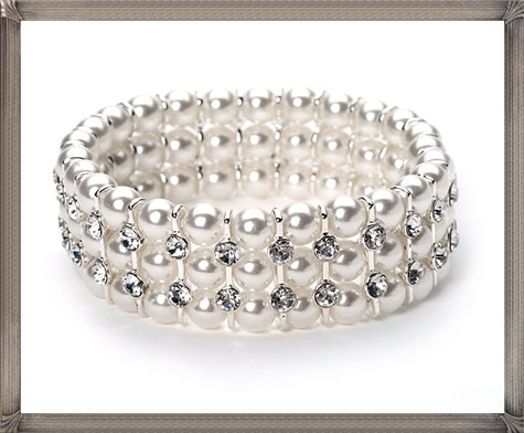 Triple-Strand-Pearl-Bracelet-coordinates-best-with-white-and-off-white 28+ Most Amazing Pearl Bracelets For Brides in 2020