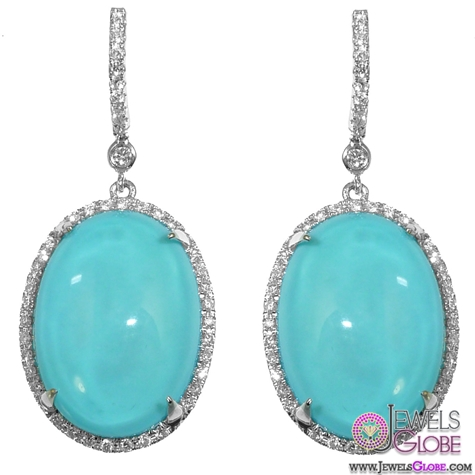 Turquoise-and-Diamond-Oval-Drop-Earrings The 43 Hottest Gemstone Drop And Stud Earrings Designs for Women