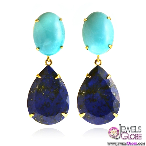 Turquoise-and-Lapis-Drop-Earrings The 43 Hottest Gemstone Drop And Stud Earrings Designs for Women