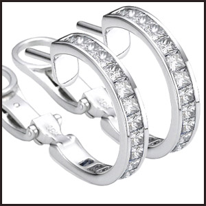 Two-diamond-hoops-earrings-set-with-diamond-Princess-cut Princess Cut Diamond Hoop Earrings: Styles You Should See