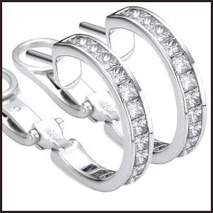 Two-diamond-hoops-earrings-set-with-diamond-Princess-cut Princess Cut Diamond Hoop Earrings: Styles You Should See