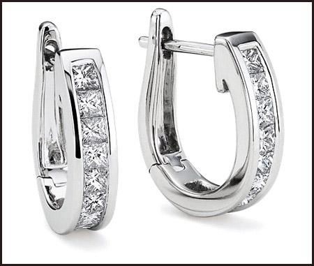 Two-princess-cut-diamond-hoop-earrings Princess Cut Diamond Hoop Earrings: Styles You Should See