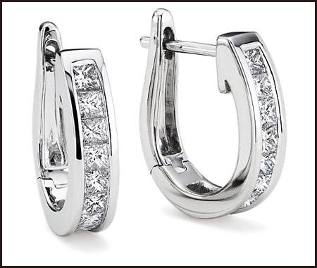 Two-princess-cut-diamond-hoop-earrings Princess Cut Diamond Hoop Earrings: Styles You Should See