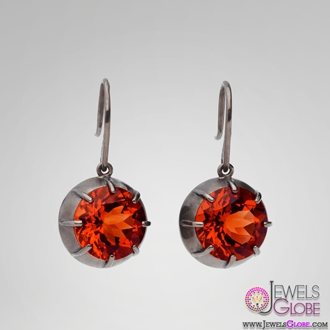Veneta-drop-earrings-with-hand-cut-madeira-citrine-red-gemstone The 43 Hottest Gemstone Drop And Stud Earrings Designs for Women