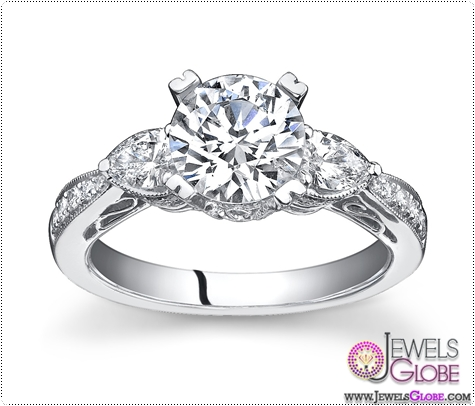 Vintage-3-stone-ring-0.60ct-and-0.75ct-brilliant-center-in-14kt-white-gold 3 Stone White Gold Engagement Rings for Women