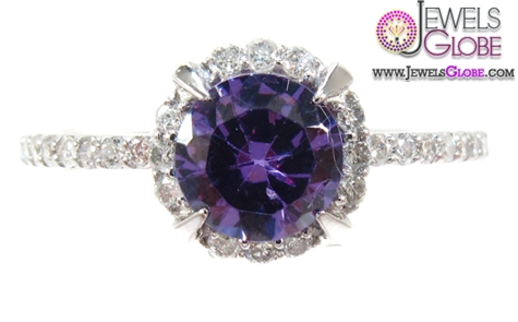 White-Gold-Purple-Color-Gemstone-Diamond-Engagement-Rings The Most Stylish Gemstone Engagement Rings