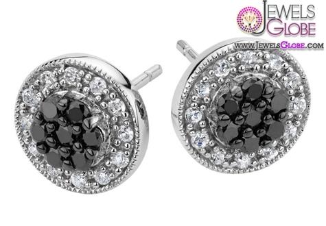 White-and-Black-Diamond-Stud-Earrings-in-Sterling-Silver Latest Fashion Black Diamond Earrings For Women
