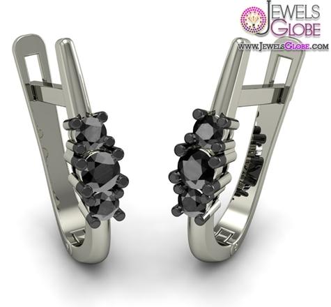 Women-Black-Diamond-Earring-In-18Kt-White-Gold Latest Fashion Black Diamond Earrings For Women