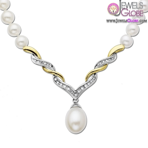 Yellow-Gold-Pearl-Diamond-Drop-Necklace Top 20 Pearl Gold Necklace Designs