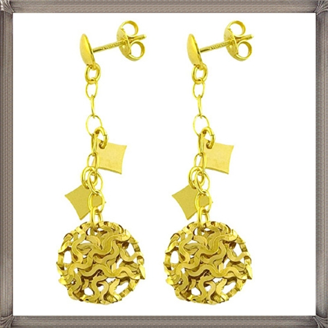 Yellow-Gold-Polished-Curlicue-Dangle-Earrings Latest Gold Earrings Designs 2019