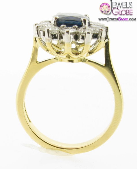 Yellow-gold-blue-sapphire-engagement-ring Top 21 Blue Sapphire Engagement Rings Designs