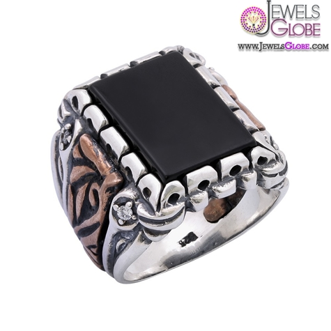 Zircon-and-Black-Onyx-Sterling-Silver-Mens-Ring 19 Awesome Mens Sterling Silver Rings
