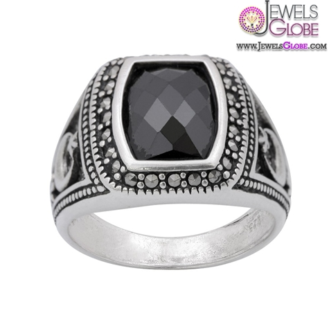 Zircon-and-Marcasite-Sterling-Silver-Mens-Ring 19 Awesome Mens Sterling Silver Rings