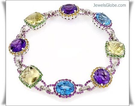 agdam-diamond-gemstone-multi-white-gold-gemstone-bracelet-celebrity-design 18 Best Gold Gemstone Bracelets Designs