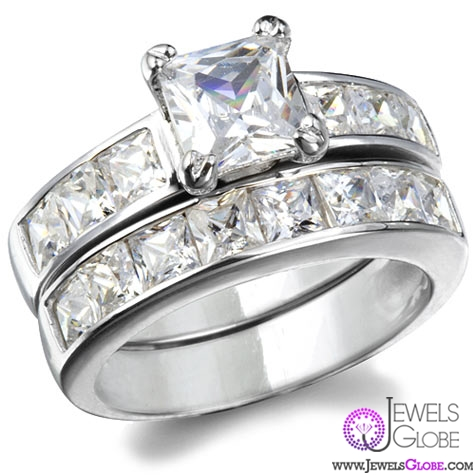 annabellas-cubic-zirconia-sterling-silver-princess-cut-wedding-set Sterling Silver Wedding Sets
