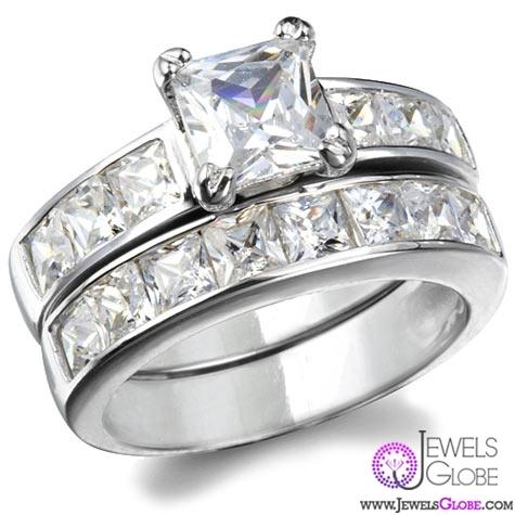 annabellas-cubic-zirconia-sterling-silver-princess-cut-wedding-set Sterling Silver Wedding Sets