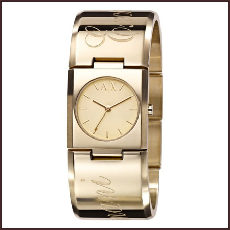 armani-exchange-gold-tone-ladies-watch Best 7 Armani Ladies Watches Designs