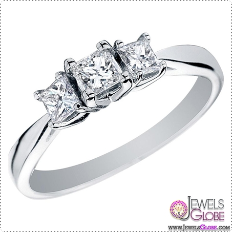 classic-three-stone-engagement-rings-3-pristine-princess 3 Stone White Gold Engagement Rings for Women