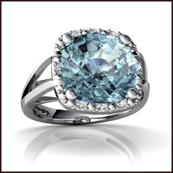 cushion-cut-Aquamarine-Ring-14k-White-Gold Top Ranked Aquamarine Cocktail Rings