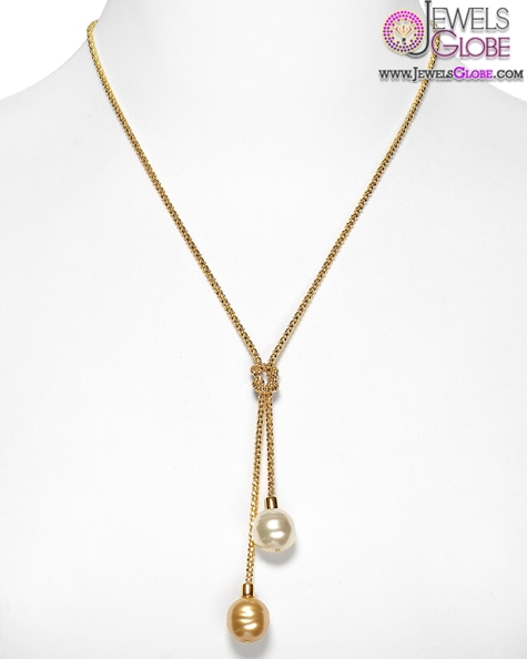 delicate-gold-necklace-with-Lariat-knot-and-double-man-made-pearl Top 20 Pearl Gold Necklace Designs