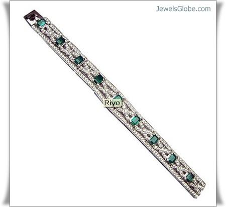 diamond-and-gold-gemstone-bracelet-with-emerald-myanmar-burma 18 Best Gold Gemstone Bracelets Designs