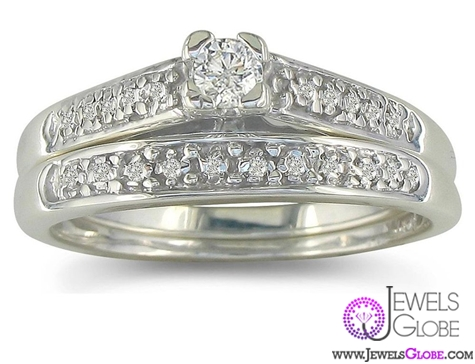 diamond-sterling-silver-wedding-ring-sets Sterling Silver Wedding Sets