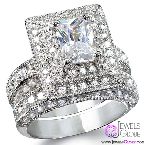 elisabettas-grand-emerald-cut-diamond-wedding-set Sterling Silver Wedding Sets