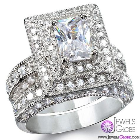 elisabettas-grand-emerald-cut-diamond-wedding-set Sterling Silver Wedding Sets