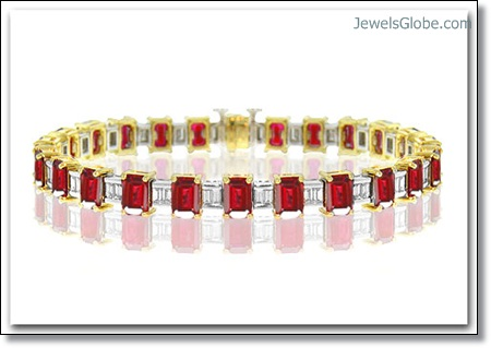 emerald-cut-ruby-and-diamond-tennis-bracelet The 16 Top Ruby Tennis Bracelet Designs