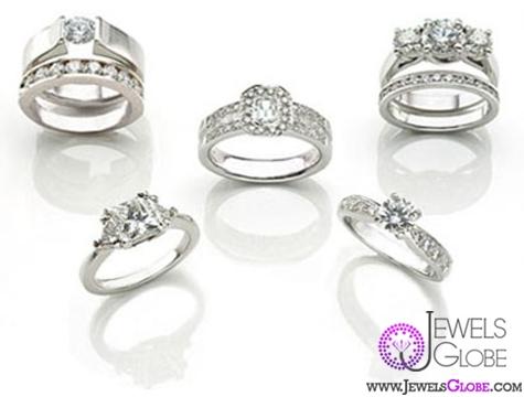 flat-plain-vintage-wedding-ring-sets Sterling Silver Wedding Sets