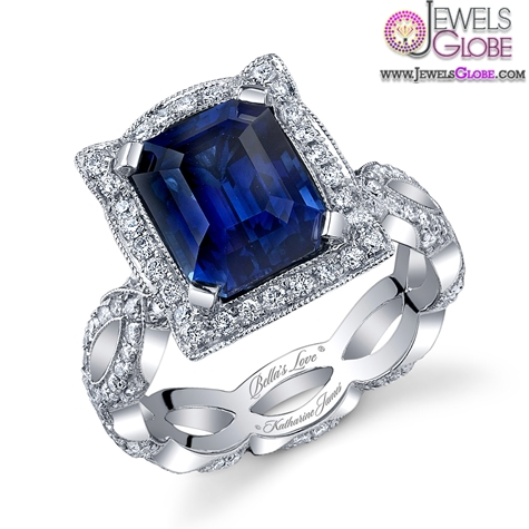 katharine-james-bellas-love-blue-sapphire-emerald-cut-engagement-ring Top 21 Blue Sapphire Engagement Rings Designs