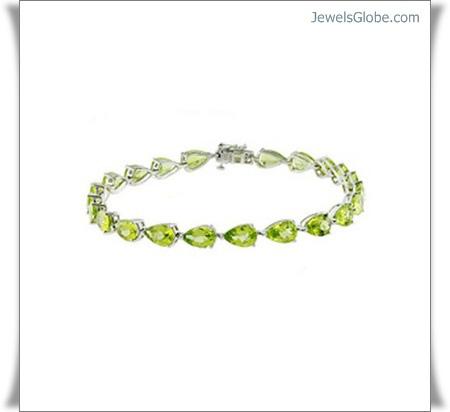 melbourne-peridot-white-bracelet-diamond-gold-gemstone 18 Best Gold Gemstone Bracelets Designs