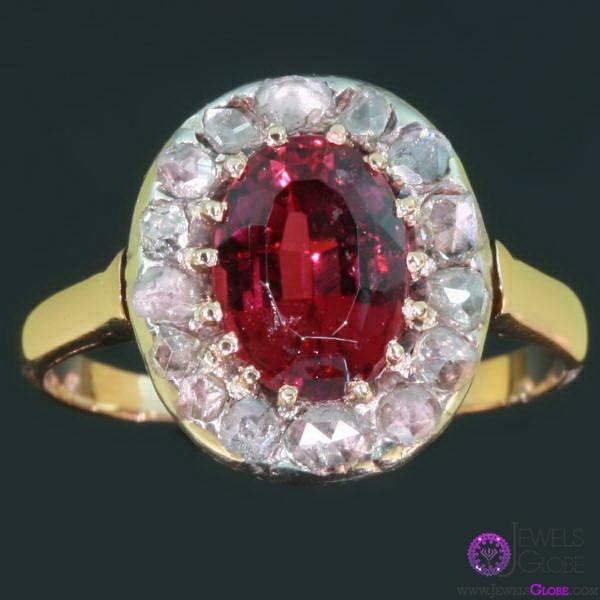 multicolor-gold-oval-rose-cut-diamond-ring Rose Cut Diamond Engagement Rings