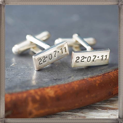personalised-rectangular-silver-cufflinks-by-posh-totty-designs-boutique personalised cufflinks for men
