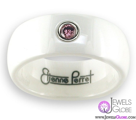 pink-diamond-white-ceramic-men-band Best 23 White Ceramic Wedding Bands for Men