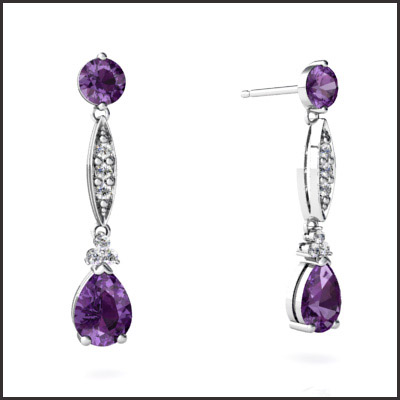 round-cut-gemstones-Amethyst-Earrings-14k-White-Gold Most Popular White Gold Amethyst Earrings Designs