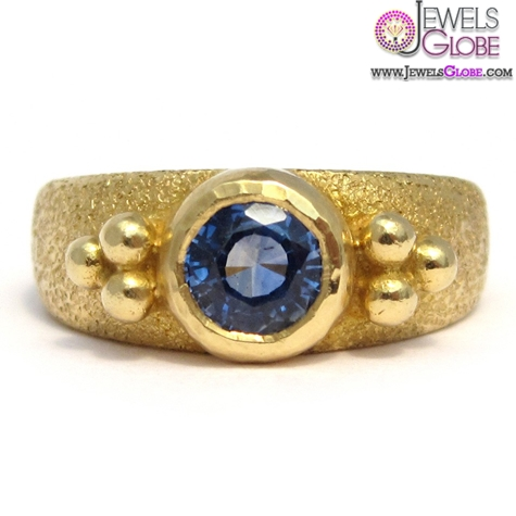 royal-blue-sapphire-20k-yellow-gold-ring Top 21 Blue Sapphire Engagement Rings Designs