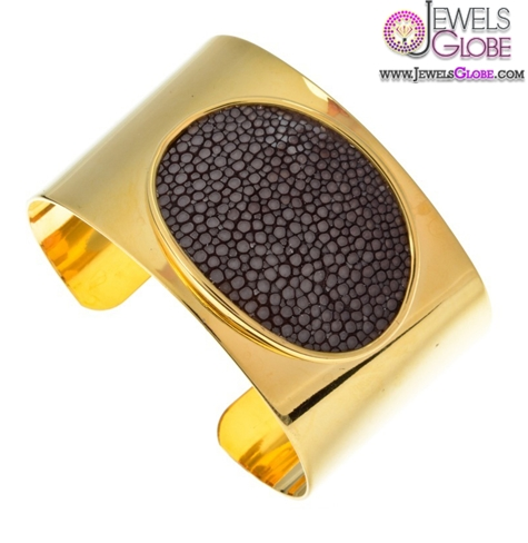 shiny-or-matte-gold-cuff-complete-with-leather-snakeskin-women-bracelet 35 Hot Cuff Bracelets For Women
