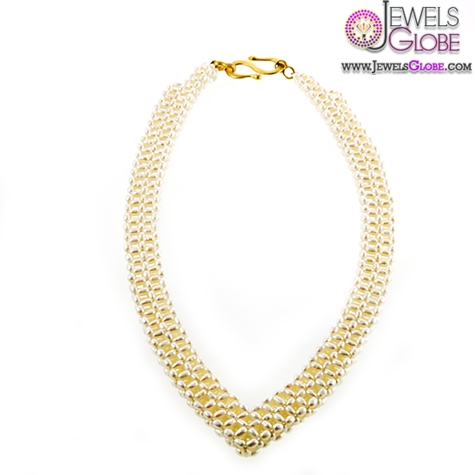 stylish-woven-pearl-V-shaped-necklace-in-gold Top 20 Pearl Gold Necklace Designs