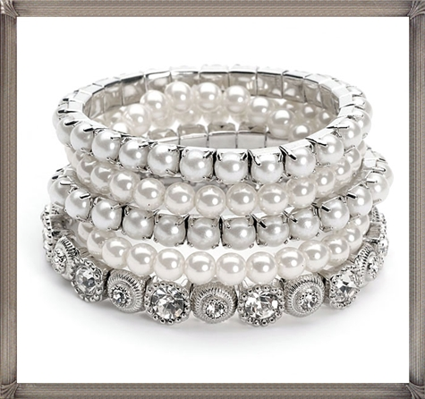 vintage-style-bracelet-set-consists-of-5-stands 28+ Most Amazing Pearl Bracelets For Brides